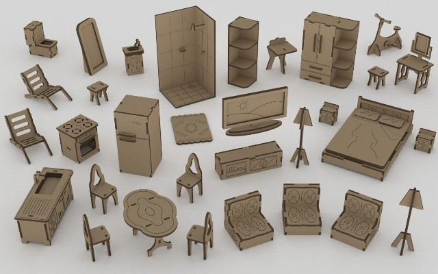 Doll house furniture set